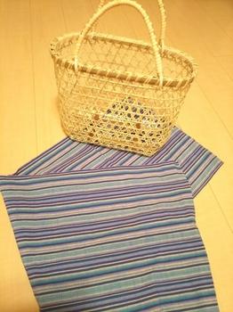 鈴竹の竹かごバッグと会津木綿