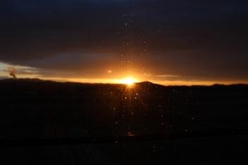 新幹線からの日の出